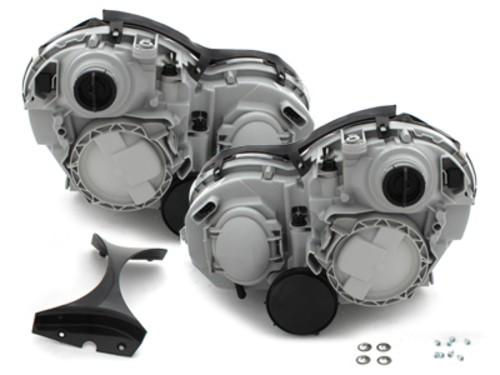 Set faruri cu lupa si fundal negru Mercedes C Class W203 2000-2006