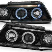 Faruri Audi A3 8L Angel Eyes si Lupa Fundal Negru